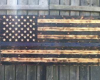 Thin Blue Line Rustic Burned Wood American Flag
