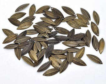 50 21x7mm bronze leaf Charms pendants jewelry