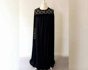 H&Nora Lace Cape Dress Abaya