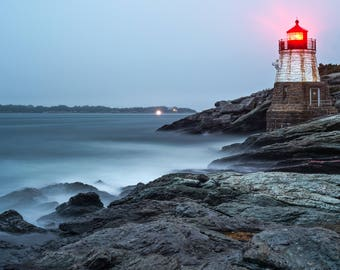 Misty Castle Hill Light, Newport Rhode Island, Light House, New England Rocky Shores, Photography Print, Wall art by James Katt Photography
