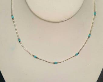 "Vintage Handmade Silver 925 Segment Necklace w/Turquoise Beautiful Segments 16"""
