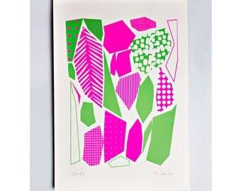 Geo 1 Limited Edition Screen Print, Neon Pink, Green, Hand Printed, Fashion Illustration, Geometric Art, Fashion Art, Original Art