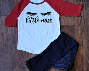 Little Miss baseball tee | girls valentine shirt | girls valentine | girls valentine outfit | valentine shirt | kids valentine shirts