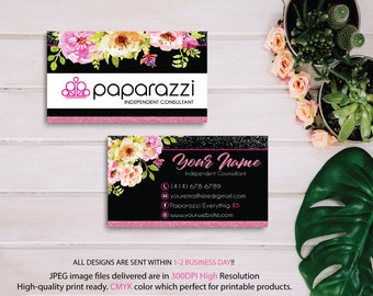 Paparazzi Business Card, Custom Paparazzi Business Card, Floral Paparazzi Business Cards, Free Personalization, Printable Business Card PP09