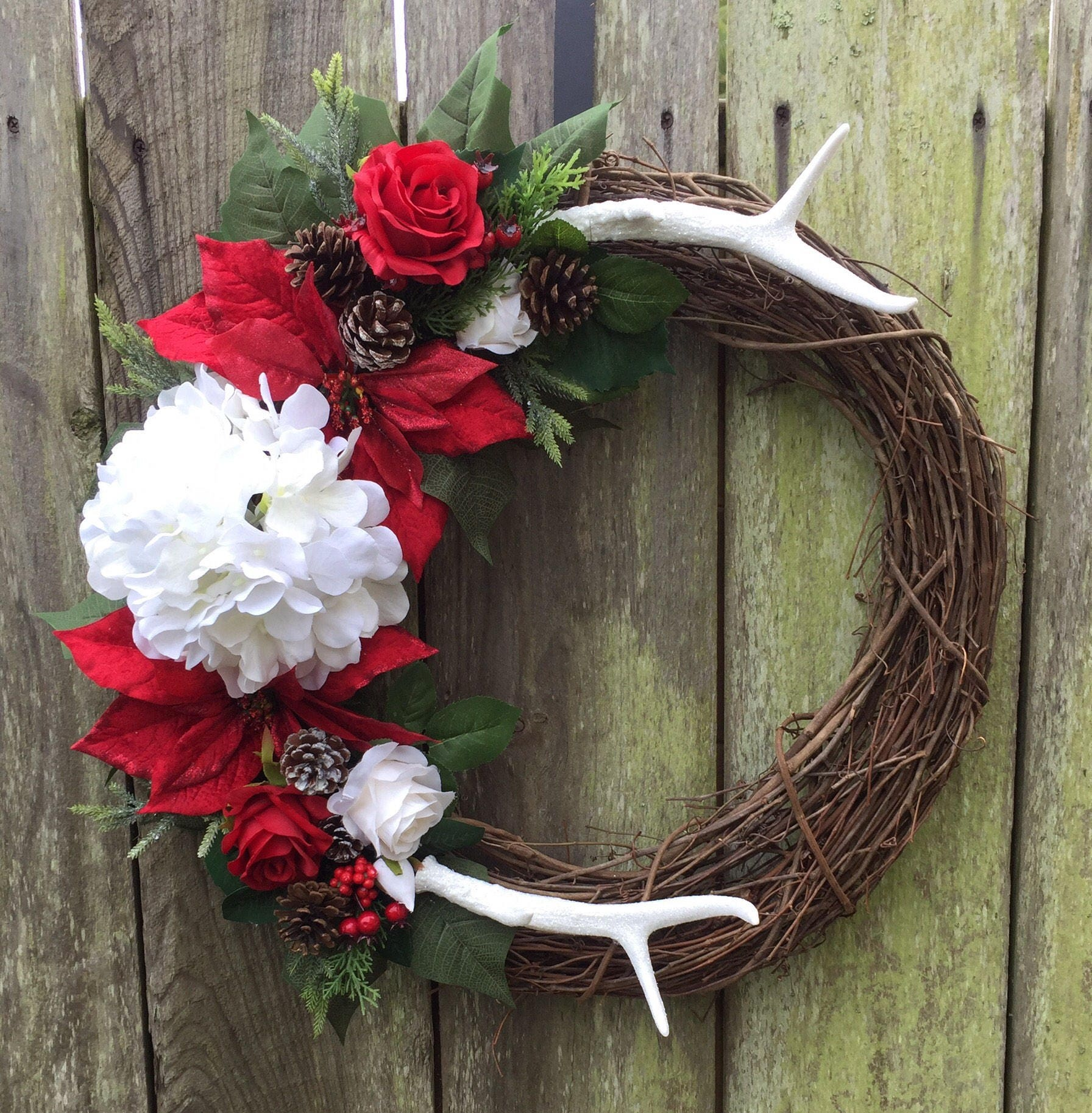 Christmas Wreath Door Decor Antler Rustic Winter