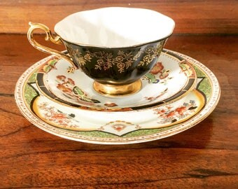 Vintage Fine China Mismatched Teacup Trio in Black, Gold and Imari Pattern