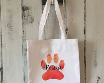 Dog Themed Tote Bag, Reusable Shopping Bag, #Rescue Bag, Tote Bag, Paw Print Tote Bag
