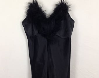 Black fur trim dress