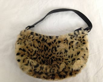 Lil tiny fuzzy cheetah / leopard purse
