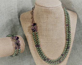 Green Pearl Necklace and Bracelet set