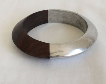 Wood Bangle Bracelet Half Silver Tone Plated, Vintage, 1990s