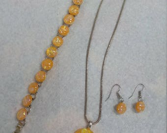 Handmade  glass jewelry set