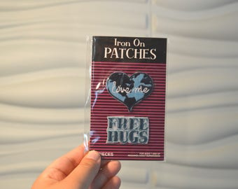 Vintage Save the World and Free Hugs Patches