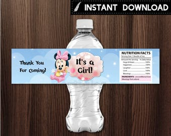 Instant Download - Baby Minnie Mouse Baby Shower Water Bottle Label It's a Girl Pink Bokeh Clouds and Stars Printable DIY - Digital File