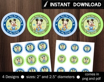 Instant Download - Baby Mickey Mouse Cupcake Topper Favor Tag Sticker Stickers First 1st Birthday Party One 1 Printable DIY - Digital File