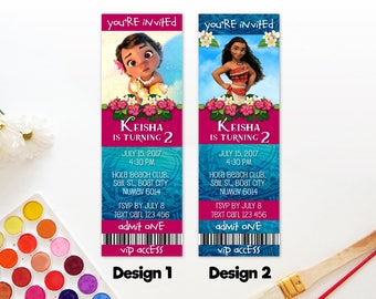 Personalized Moana Birthday Party Invitation VIP Access Ticket Admission Admit One - DIY Parties