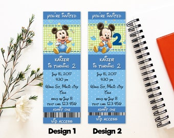 Personalized Baby Mickey Mouse First Birthday Party Second Birthday Invitation Invite Baby Blue Polka Dots Printable DIY - Digital File