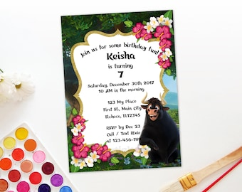 Personalized Ferdinand The Bull Invitation Birthday Party Invite Pink White Flowers Gold Accent Printable DIY - Digital File