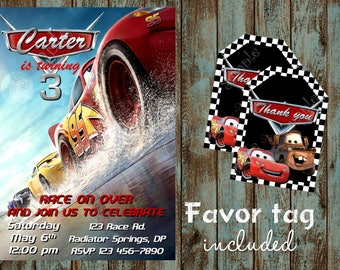 Cars Invitation, Cars Birthday, Cars Birthday Invitation, DIY Cars Birthday Party, Disney Cars Invitation, Cars invite + free Favor tags