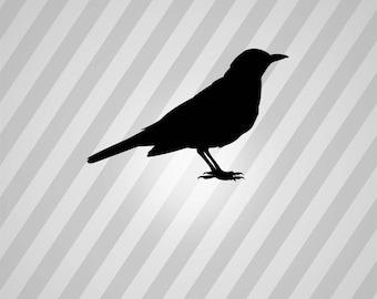 Bird Blackbird Silhouette Black Bird - Svg Dxf Eps Silhouette Rld RDWorks Pdf Png AI Files Digital Cut Vector File Svg File Cricut Laser Cut