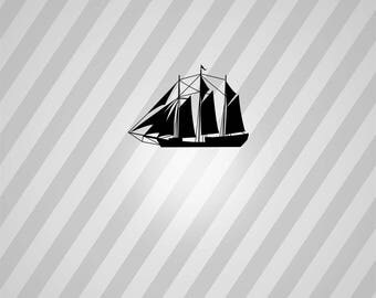 Pirate Ship Silhouette Ship - Svg Dxf Eps Silhouette Rld RDWorks Pdf Png AI Files Digital Cut Vector File Svg File Cricut Laser Cut