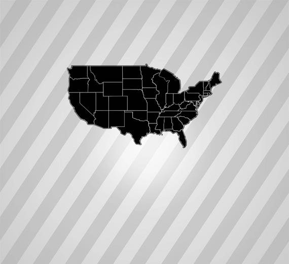 USA Map Silhouette American States Maps Svg Dxf Eps Silhouette Rld