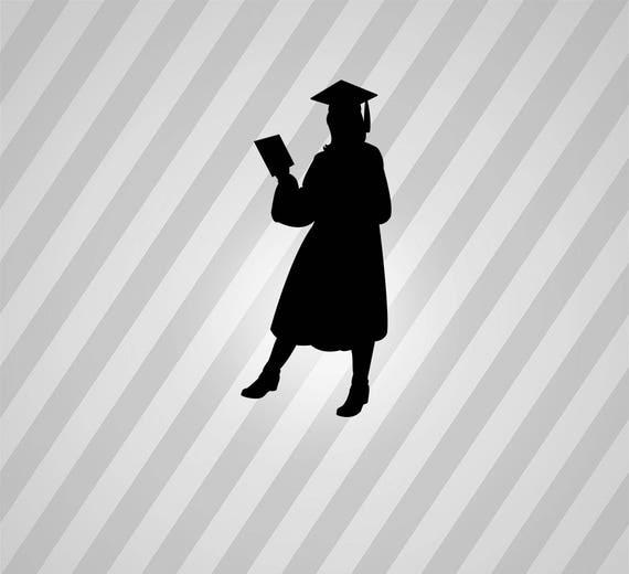 female graduate silhouette svg dxf eps silhouette rld rdworks pdf png ai files digital cut vector file svg file cricut laser cut from donfarmermarket on
