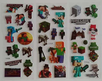 3 Sheets Minecraft 3D Bubble Stickers Set#C ~ Birthday Party Favors