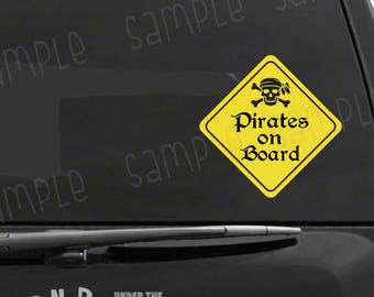 Pirates on Board Vinyl Car Decal, Fun Baby on Board Car Sticker, Disney Nerd Gift, Pirate Gifts, Geeky Decal, Nerdy Decal, Pirate Decor