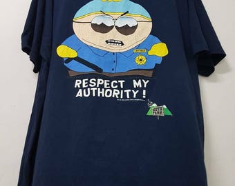 Rare!! Vintage 1998 Respect My Authority South Park T Shirt!! ©TM Of Comedy Central