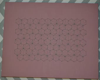 Geometric Hexagon Field Embroidered Canvas