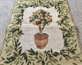 Vintage floral tree Tapestry wall hanging - made in Belgium - 1980's