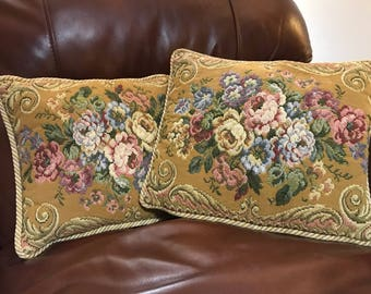 Pair of Vintage cushions Gold Belgian floral Tapestry Metrax velvet backed cushions- made in Belgium 1980's