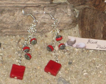 Earrings red square glass perle and donuts pearl