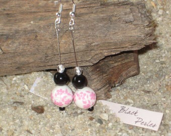 Earrings porcelain pearl with pink cherry blossom and black glass pearl