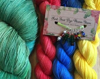 EWE-LTIDE yarn kit stitch markers christmas gift set handmade indie dyer