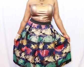 Plus size multi print skirt