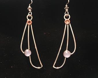 Aquamarine sterling silver wings earrings