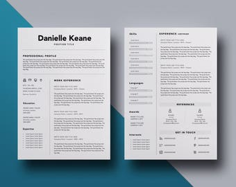 Simple Objective For Resume Resume Template Word  Etsy Resume Examples 2013 Excel with Sample Resumes Templates Excel Resume Template Word Professional Resume Simple Cv Template Modern Resume  Cv Word Free Resume Creator Online Pdf