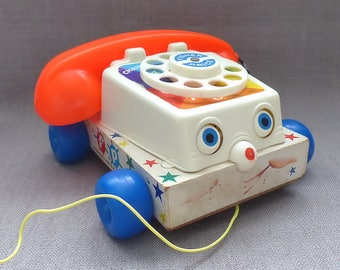 FISHER PRICE TOYS Chatter Telephone 1961 Pull Along Toy Vintage Complete With All Parts