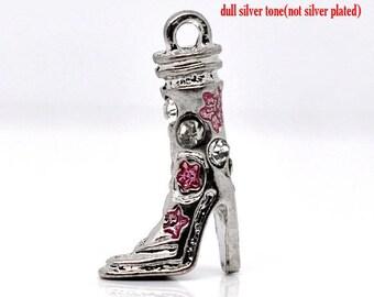 1 charm boot Silver + Pink rhinestones 21 x 15 mm