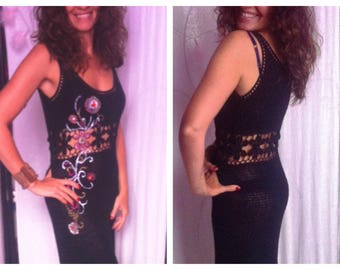 Custom crochet dress, knee-length, black cotton, hand painted