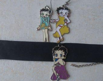 set bracelet and earrings betty boop