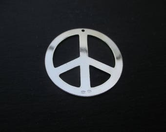 1 pendant peace and love 33 mm 925 sterling silver