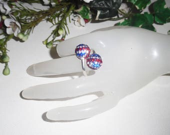 Original 925 sterling silver ring with Red White Blue Crystal beads