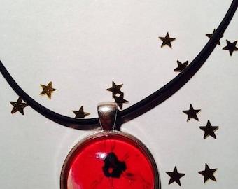 "Rubber Choker necklace ""Poppy"" 25 mm pendant necklace"