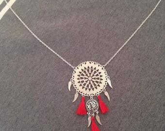 Nightmare catcher Sautoir necklace red PomPoms