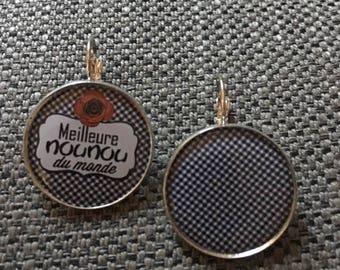 """Earrings """"best Nanny in the world"""""""