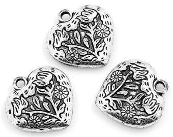 set of 4 25 mm x 24 mm acrylic heart charms