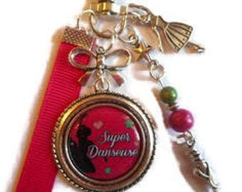 "Bag charm, door keys/teacher/teacher / dancer / ""Super dancer"" / gift / birthday/party/thanks"